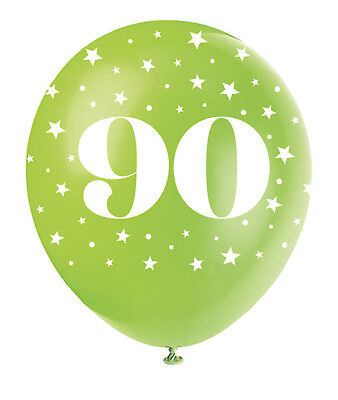 Pearlised Assorted Colour 90th Birthday Age 90 Latex Balloons Decorations 5pk
