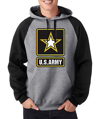 Army Logo Hooded Sweatshirt - ARMY LOGO RAGLAN HOODIE Military Hooded Sweatshirt United States Usarmy Ranger