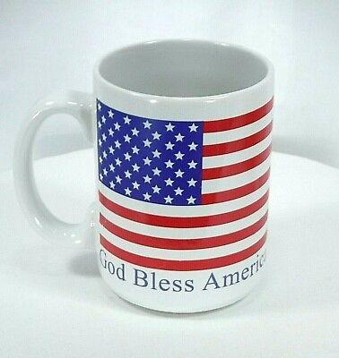 God Large Mug (Patriotic God Bless America Ceramic Large Coffee Mug ~ American Flag ~ Gibson  )