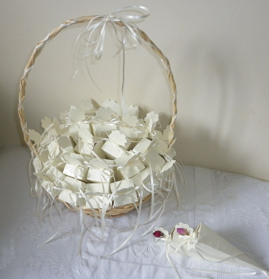 30 Wedding Confetti Cones Dried Rose Petal Confetti And Decorated Basket