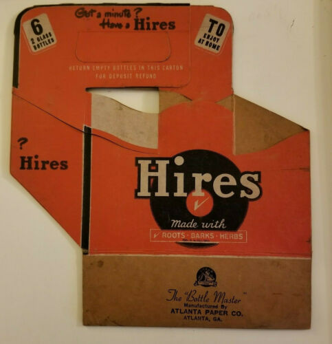 1940s Hires Root Beer cardboard Six Pack Soda Carrier Original Vintage