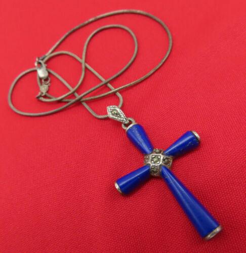 Vintage Sterling Silver Necklace Cross Pendant Blue Enamel Marcasite 16 in 349a