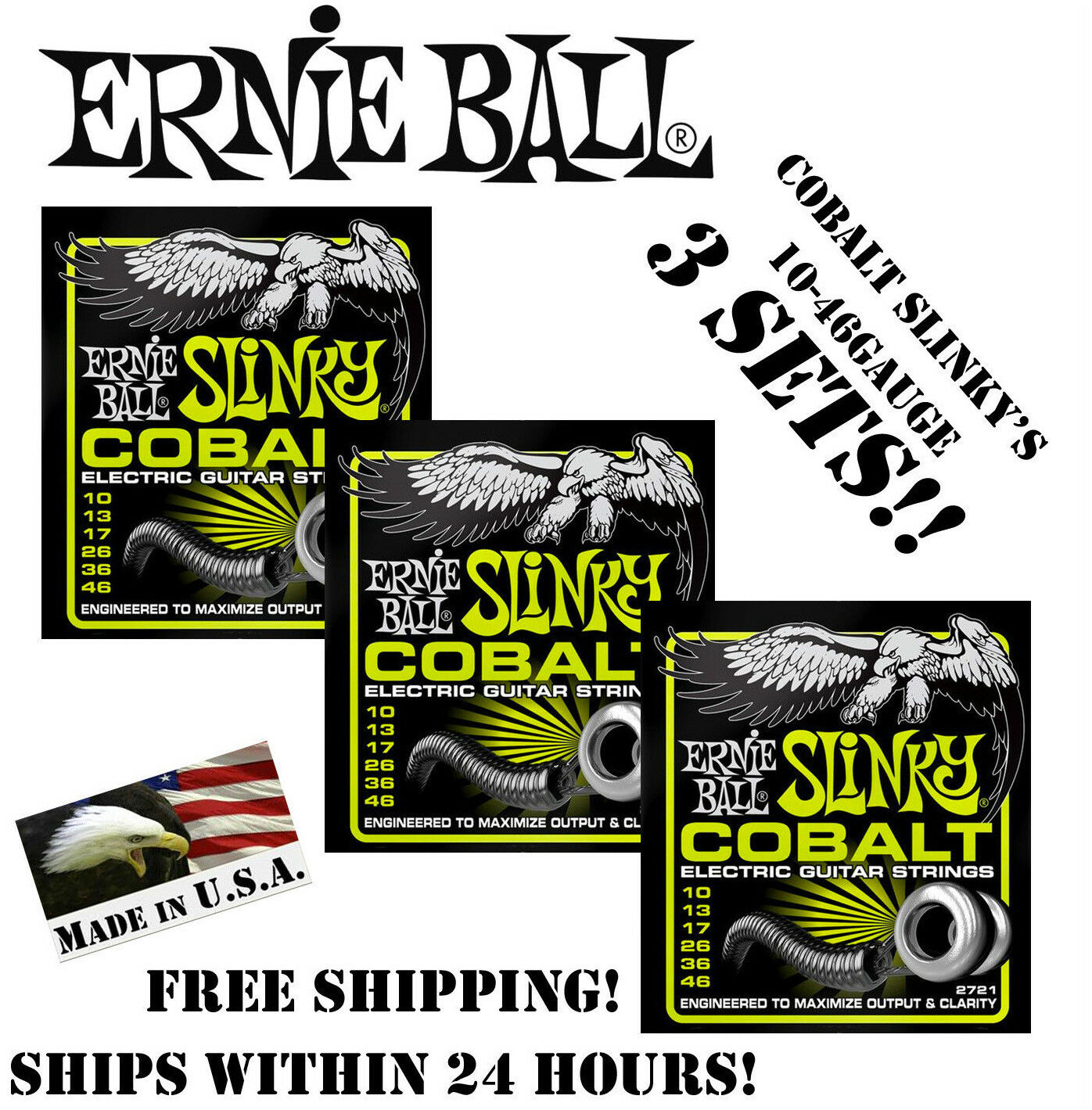 Ernie Ball 2721 Cobalt Regular Slinky Electric Guitar String