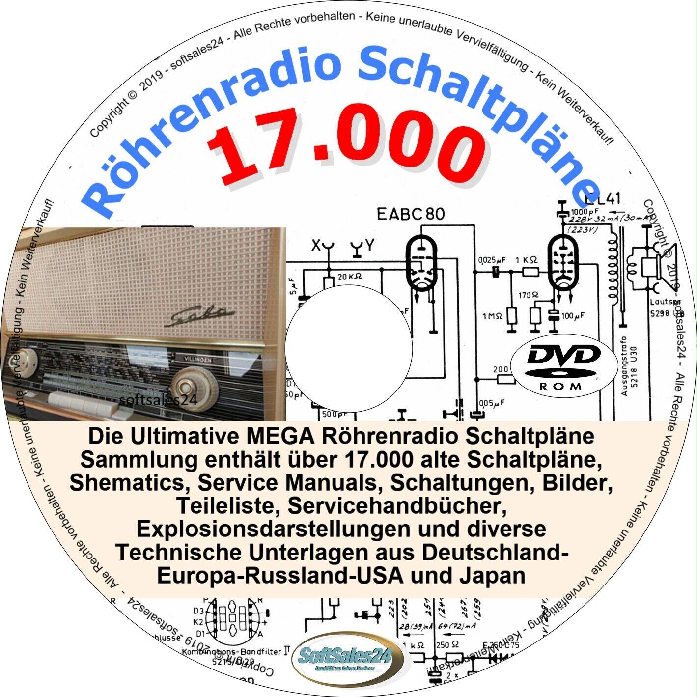 ✅DIE ULTIMATIVE 17000 SCHALTPLÄNE CD DVD SAMMLUNG ALTE RÖHRENRADIOS TUBE RADIO
