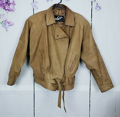 Winlit Leather Coat Bomber Women's Size L Jacket Vintage Genuine Brown Dolman