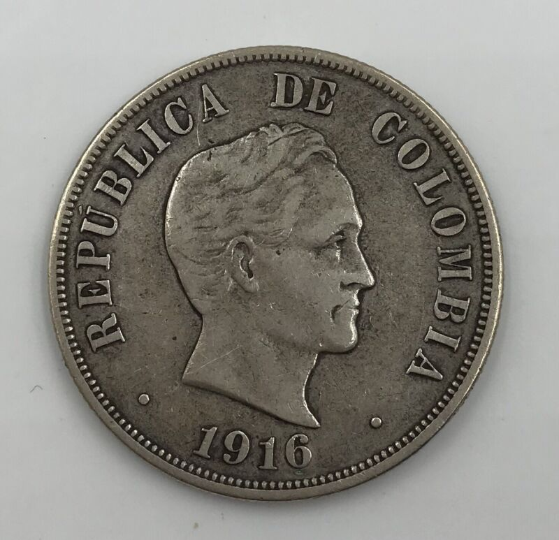 1916 Republic of Colombia Silver 50 Cents Coin!