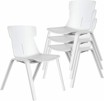 Office Stacking Chair With Back Support Sturdy Plastic Frame Home School 4 Pcs
