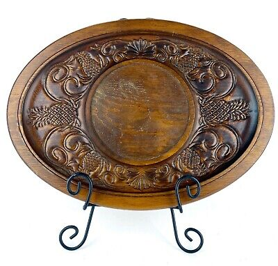 Large Vintage Solid Wood Hand Carved Platter Oval Pineapples Decorative w/Feet