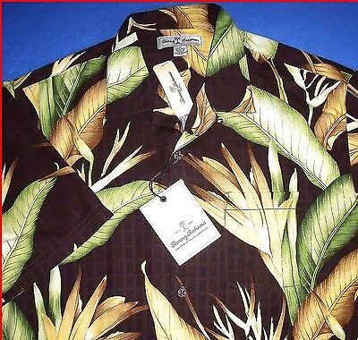 GORGEOUS NEW M TOMMY BAHAMA BIRDS OF BOMBAY BROWN GOLD DAMASK SILK MENS -