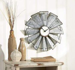 Metal Windmill Wall Clock with Distressed Finish & Roman Numerals-Rustic Inspire
