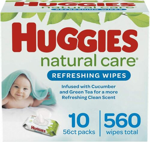 Huggies Natural Care Refreshing Baby Scented Wipes, 10 Flip-Top Pck 560 Wipes