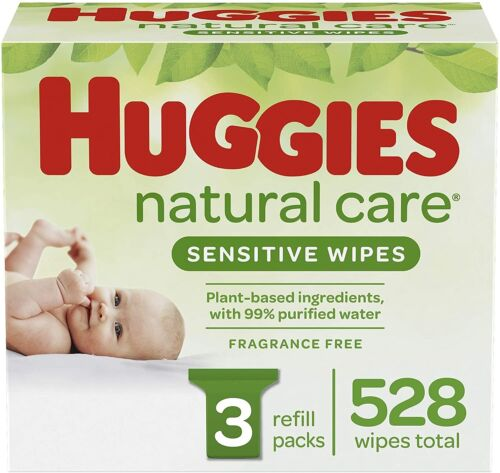 Huggies Natural Care Sensitive Baby Wipes, Unscented, 3 Refill Packs [528 Wipes]