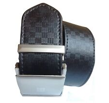 Non leather men black auto lock belt with self textured