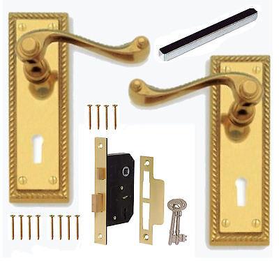 Georgian Polished Brass Lever Lock Door Handles + 64mm 3 Lever Lock Set +2 Keys Georgian Polished Brass