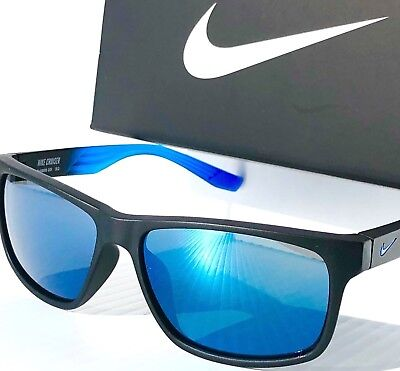 NEW* NIKE CRUISER R Matte Black BLUE w Blue Lens Sunglass EV0835 (Nike Cruiser Sunglasses)
