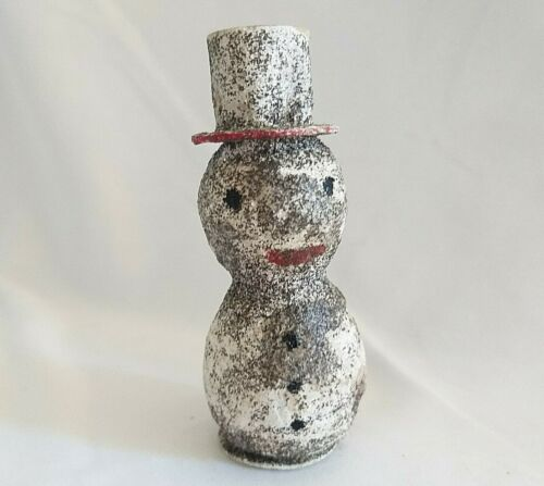 Antique Spun Cotton Snowman Figure MADE IN JAPAN Silver Glitter CHRISTMAS