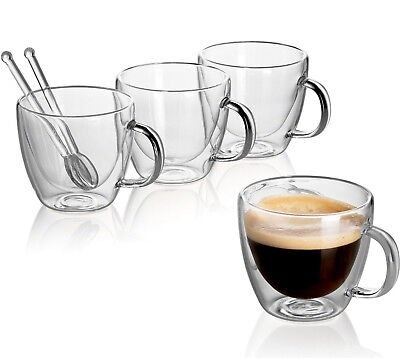 - Clear Glass Set Double Wall Coffee Mug Espresso Cup 5.4 oz + Glass Spoons