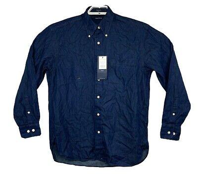 Nautica Mens Indigo Blue Long Sleeve Button Up Shirt Size Medium NWT