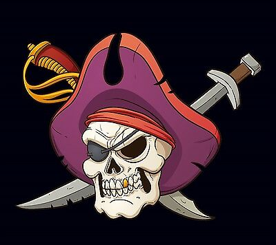 PIRATE FLAG PURPLE HAT EYE PATCH JOLLY ROGER SKULL AND CROSS SWORDS 3'X5' FEET - Purple Pirate Hat