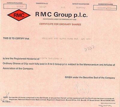 UNITED KINGDOM 1982, RMC GROUP p.l.c., Zertifikat über 50.000 Stammaktien je 25p