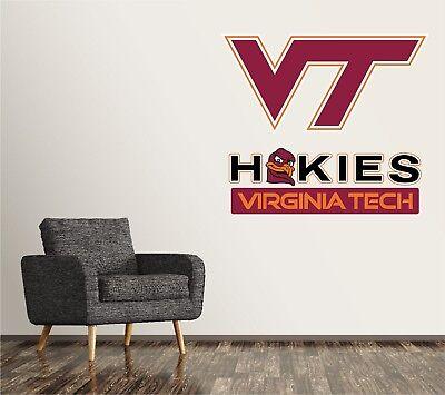Virginia Tech Hokies Wall Decal Logo NCAA College Sticker Vinyl LARGE -
