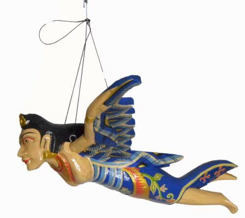 """Flying Mermaid Goddess Mobile Demon Chaser Guardian Carved Balinese art Blue 12"""""""