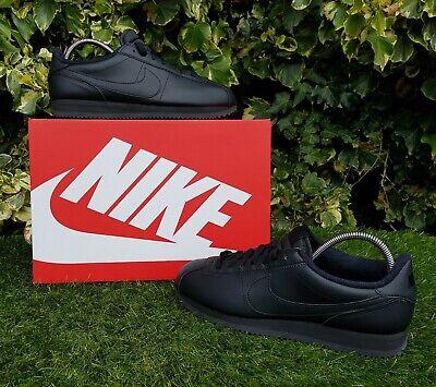 BNWB & Genuine Nike ® Classic Cortez Triple Black Leather Trainers in UK Size 8