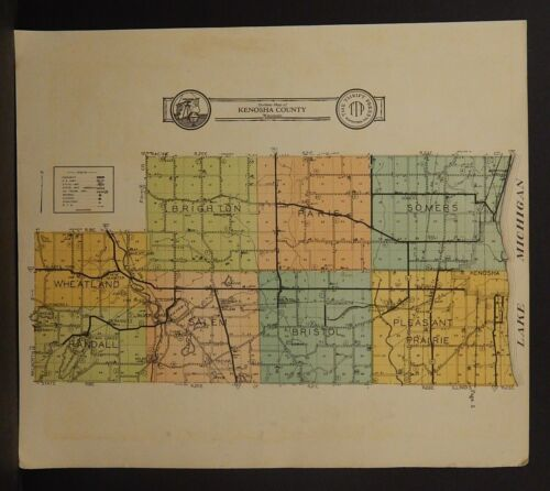 Wisconsin Kenosha County Map  c.1908  K20#75