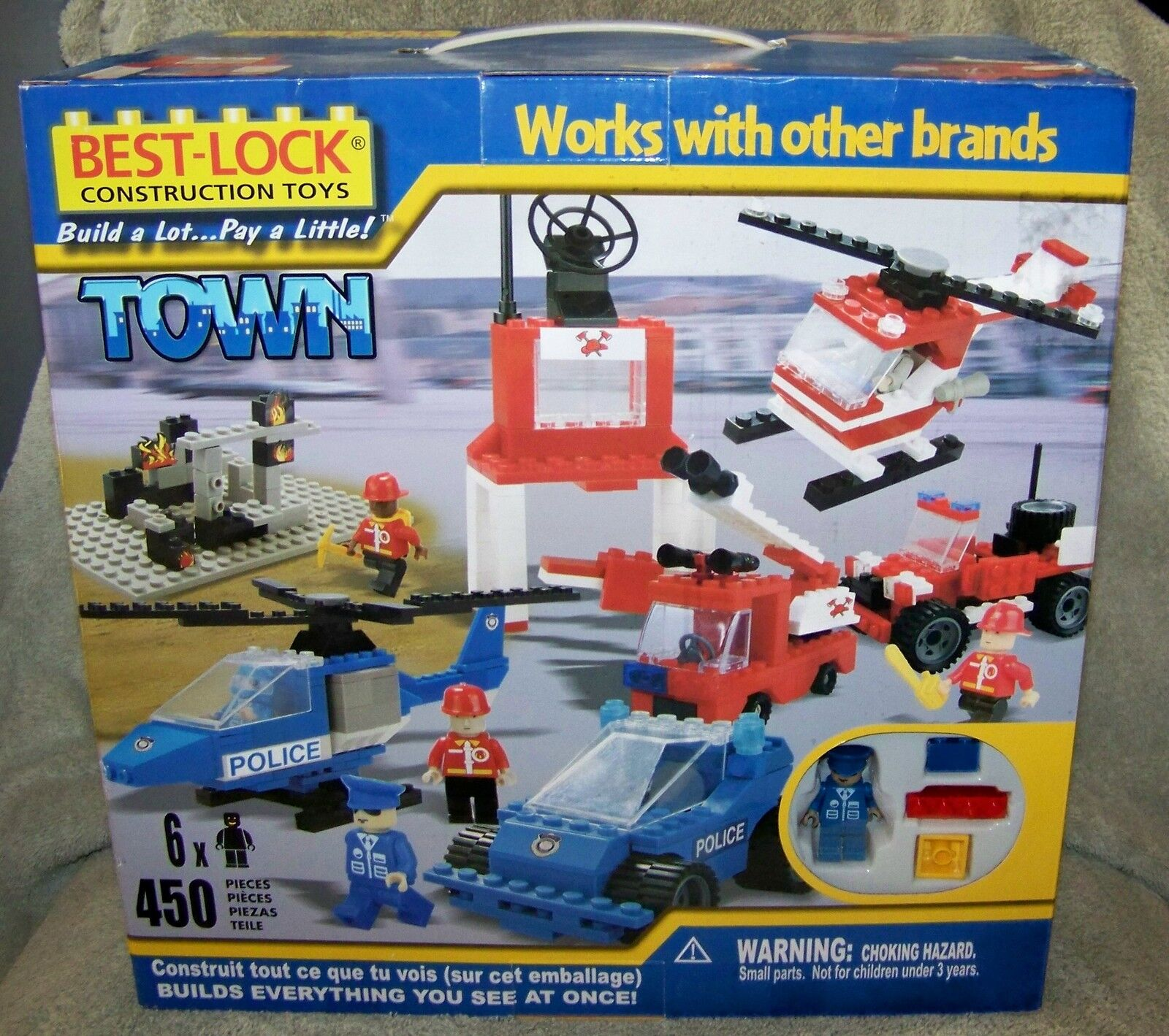 Best-lock Town Building Set 2009 Police And Fire Building Set 450 Pieces