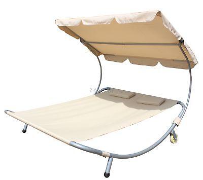 WestWood Garden Outdoor Patio Double Sun Lounger Day Bed Hammock Canopy Beige