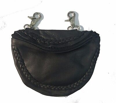 Genuine Leather Belt Bag - Motorcycle Clip On Hip Purse - Black Braided, Zipper