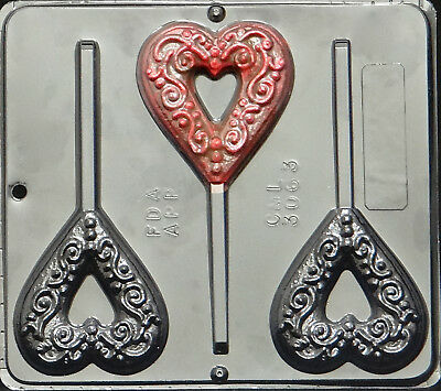 Heart Lollipop Chocolate Candy Mold Valentine  3063 NEW