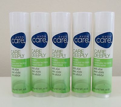 New Avon CARE DEEPLY with ALOE Clear Lip Balm / Chap Stick *Qty 5*