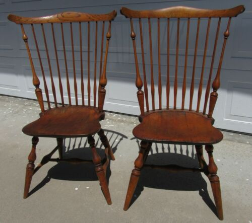RARE PAIR GORGEOUS ANTIQUE WALLACE NUTTING COMB BACK WINDSOR CHAIRS SIGNED #310