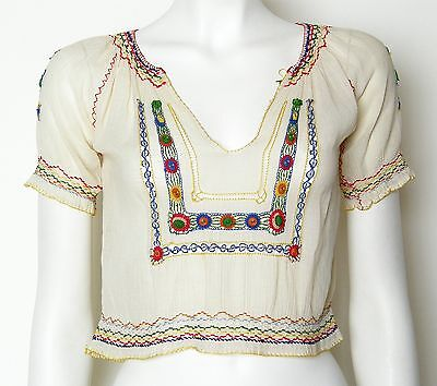 c 40s 50s Vintage Peasant Blouse Embroidered Cotton Gauze Crochet Czech Smocked