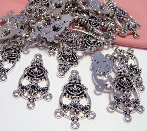 30 PCS ~SILVER ORNATE FLOWER CONNECTOR-COMPONENT-EARRING DROPS~CHANDELIER