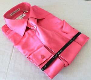 Mens-Satin-Shiny-Fuchsia-Dress-Shirt-With-Tie-Hanky-Karl-Knox-Convertible-Cuff