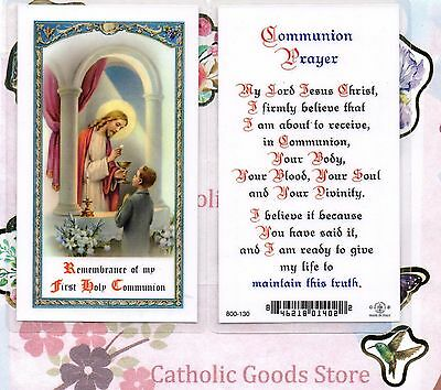 Boy  receiving his First Holy Communion + Communion Prayer - Laminated Holy - Communion Prayer Holy Card