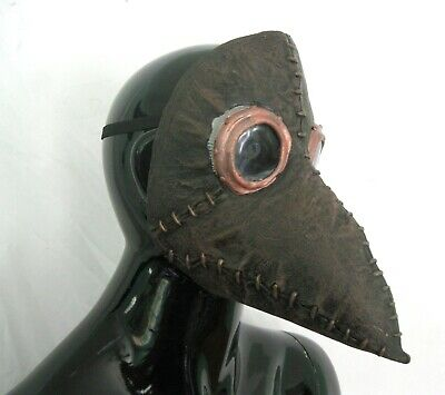 Steampunk Plague Doctor Brown Faux Leather Ghoulish Adult Halloween Costume Mask