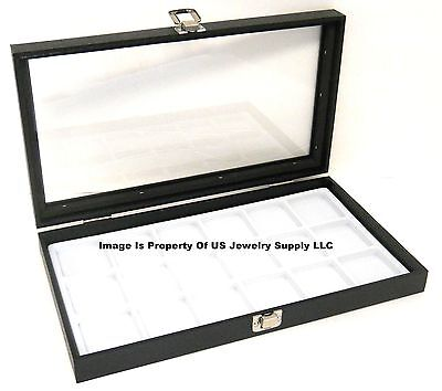 1 Glass Top Lid White 18 Space Organizer Display Box Case Jewelry Pocket Watch