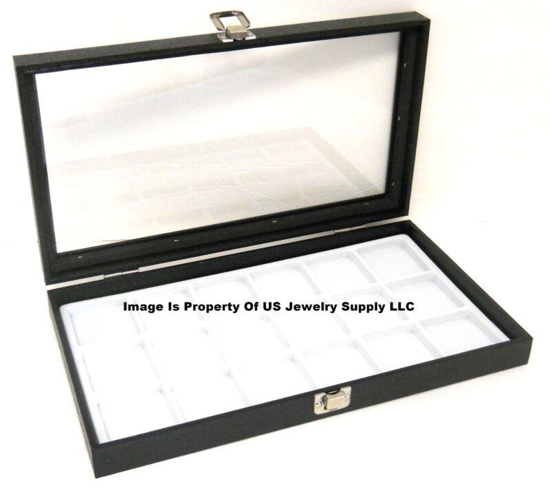 1 Glass Top Lid White 18 Space Organizer Display Box Case Jewelry Pocket Watch