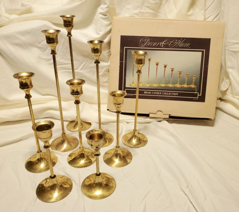 VTG Lot Of 9 DECOR & MORE Brass Candle Stick Holders