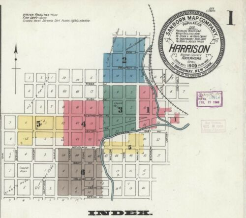 Harrison, AR,  Arkansas~Sanborn Map© sheets ~CD~in full color~1897 to 1923-PDF