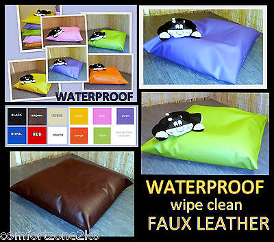 ZIPPY SML WATERPROOF FAUX LEATHER BEAN BAG DOG BED FLOOR CUSHION BEANBAG WIPE