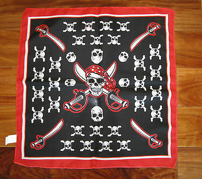 1 NEW PIRATE BANDANA SKULL AND CROSSBONES JOLLY ROGER HANDKERCHIEF PARTY FAVOR](Red Pirate Bandana)