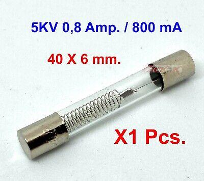 Fusible alta tensión seguridad para microondas 5Kv 0,8A (800ma) 6x40mm fusionner