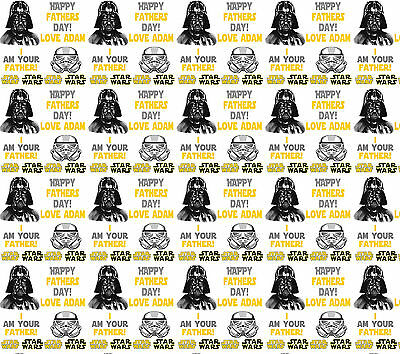 Personalised Gift Wrapping Paper FATHERS DAY STARWARS