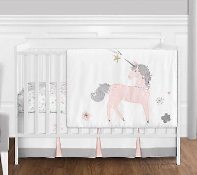 Bumperless Blush Pink Grey Gold Unicorn Toile Floral Baby Girls Crib Bedding Set - Floral Toile Crib