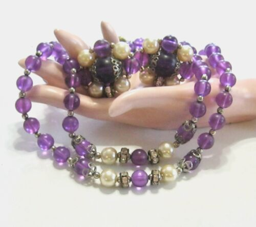 VINTAGE PURPLE LUCITE PEARL RHINESTONE BEAD NECKLACE & MATCHING CLIP ON EARRINGS