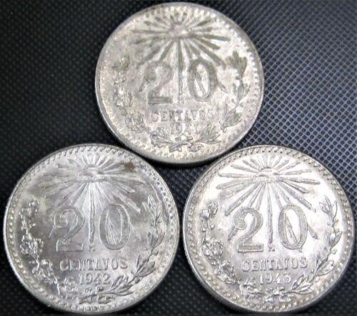 1941, 1942, 1943 - 20 Centavos Cap & Rays KM#438 - 3 Silver Coins